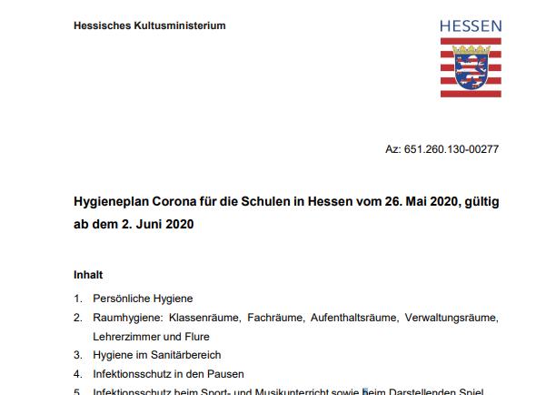 Hygieneplan die die hessischen Schulen