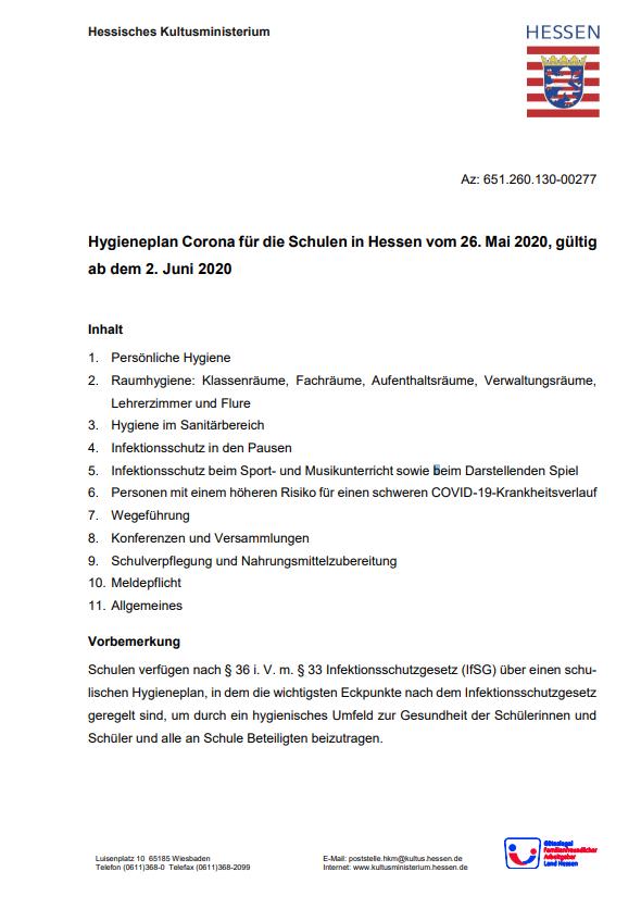 Hygieneplan für Hessen
