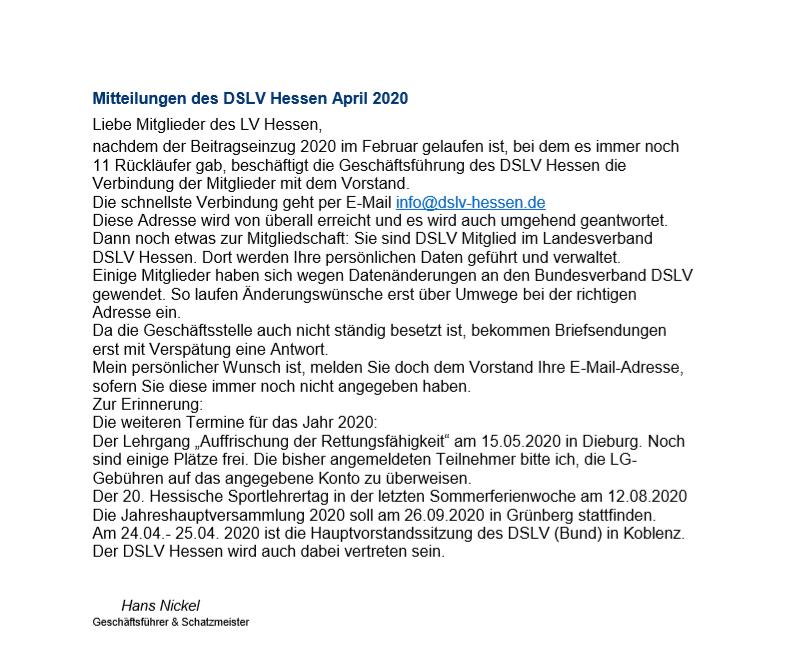 Mitteilungen des DSLV Hessen April 2020