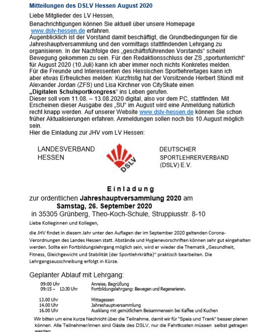 Mitteilungen des DSLV Hessen August 2020