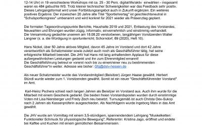 Bericht JHV 2020 Hans Nickel ist neues Ehrenmitglied